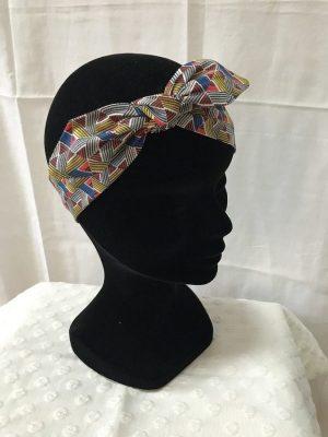 Bandeau à nouer accessoires cheveux noeud papillon fait main multicolor motifs géométriques