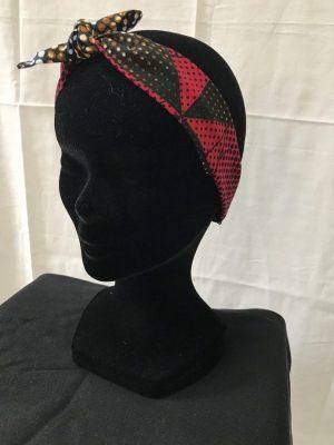 Bandeau à nouer accessoires cheveux noeud papillon fait main multicolor motif pois