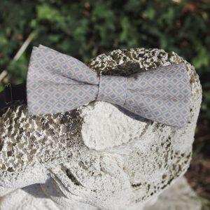 Noeud papillon accessoire mode fait main gris motifs géométriques bleu clair