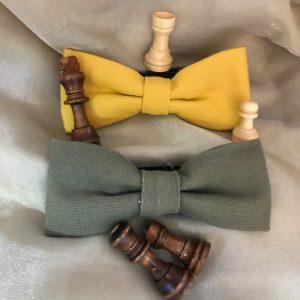 Noeud papillon accessoire mode fait main unis jaune moutarde ou kaki
