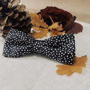 Noeud papillon accessoire mode fait main noir motif pois blanc