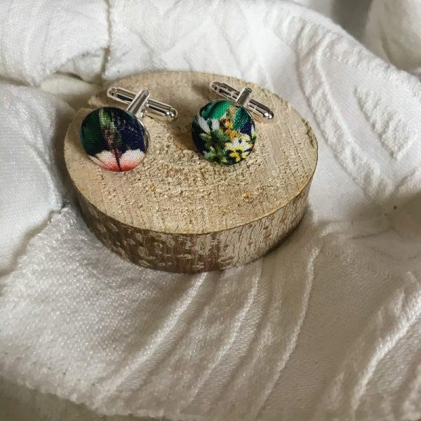 Bouton de manchette accessoire mode fait main multicolor motif fleurs