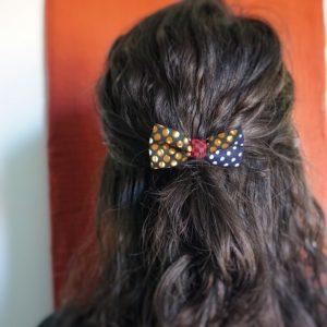 Élastique accessoire cheveux noeud papillon fait main multicolor motif pois