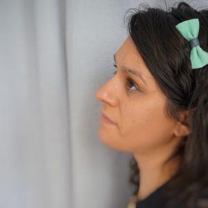 Bandeau accessoire cheveux noeud papillon fait main deux verts