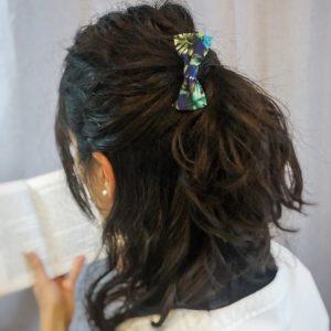 Élastique accessoire cheveux noeud papillon fait main multicolor motif nature