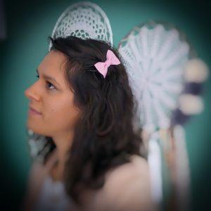 Barrette accessoire cheveux noeud papillon fait main rose