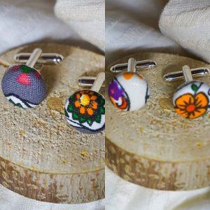 Boutons de manchettes accessoires modes blanc ou gris motifs calavera têtes de mort mexicaines
