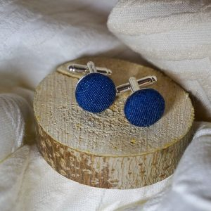 Boutons de manchettes accessoires de mode bleu jean denim