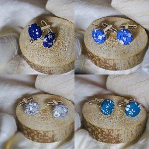 Boutons de manchettes accessoires modes bleu ou gris motif fleurs blanc