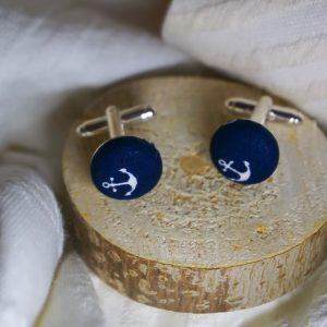 Boutons de manchettes accessoires mode bleu marine motif ancre blanc