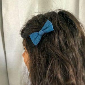 Barrette noeud papillon accessoire cheveux tissu jean