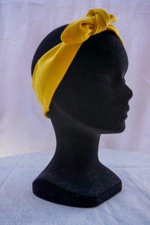 Bandeau à nouer noeud papillon fait main jaune moutarde