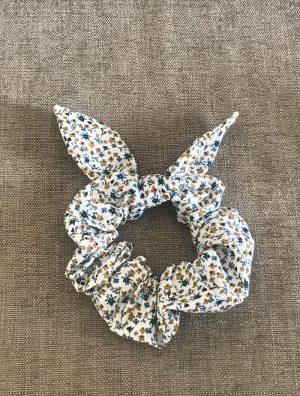 Chouchou noeud motif fleuri fait main