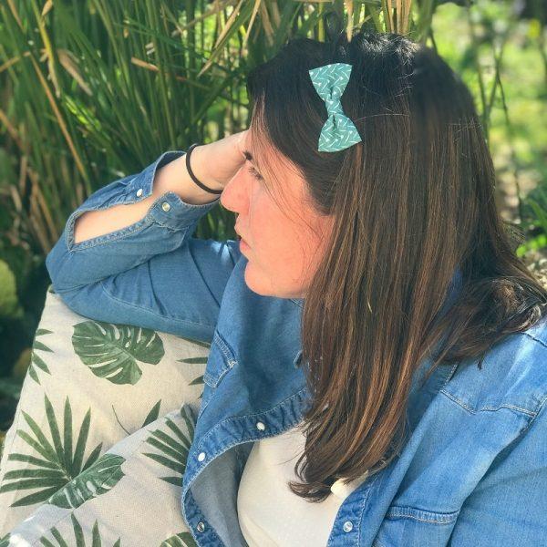 Barrette noeud papillon accessoire cheveux fait main vert et blanc