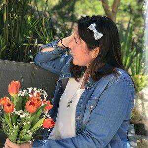 Barrette noeud papillon accessoire cheveux fait main bleu et blanc motif rayures