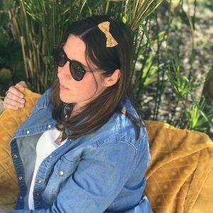 Barrette noeud papillon accessoire cheveux fait main beige et camel motif fleurs