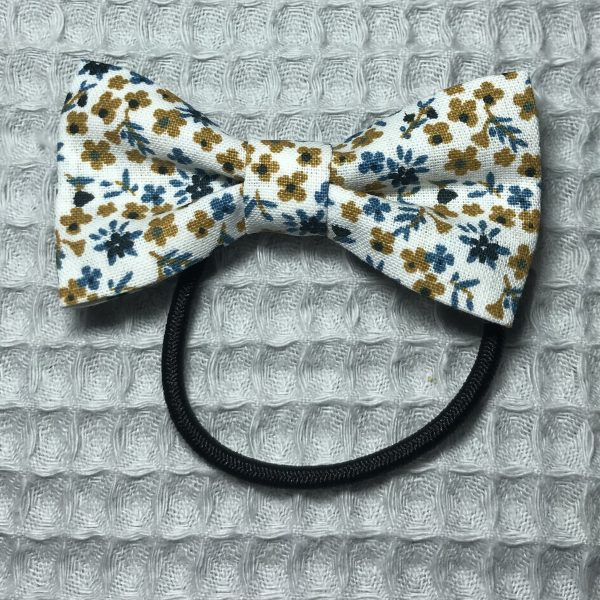 Élastique cheveux noeud bleu et jaune motif fleuri fait main