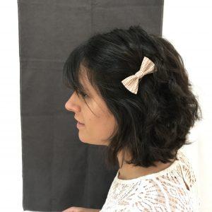 Barrette accessoire cheveux noeud papillon fait main camel et beige
