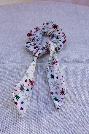 Foulchie accessoire cheveux fait main multicolor motif étoiles et flocons